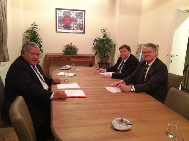 Prime Minister Tuilaepa Sailele Malielegaoi meeting with the Chairman of World Rugby Mr Bernard Lapasset together with Mr David Carrigy, Head of Development and International Relations World Rugby at the Samoa Embassy Office, Brussels, on Wednesday 10 December, 2014.
